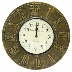 Wooden & Brass Dial Analog Wall Clock
