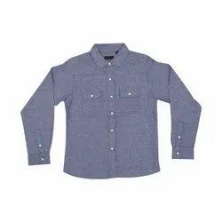 8 Year Blue Boys Plain Cotton Shirt