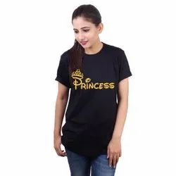 Round Black Ladies Cotton Casual Half Sleeve T Shirt