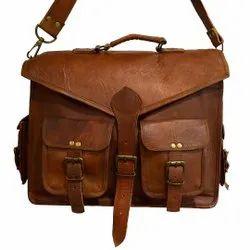 Vintage Brown Leather Messenger With Detachable Strap,Heavy Handle Laptop Bag