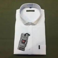 Wrioker Cotton Men''s White Formal Plain Shirt, Handwash