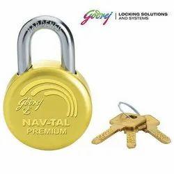 With Key Main Door Godrej Navtal Premium 5100 Pad Lock, Brass