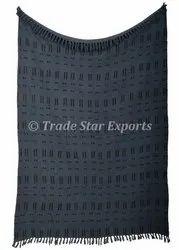 African Mudcloth Throw Blanket Indian Handmade Shawl Hand Block Printed Tassel Throws