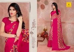 Casual Wear Printed Stylish And Sinple Exclusive Georgette Sarees, 6 m (with blouse piece)