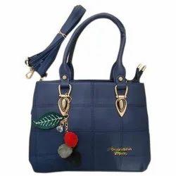 Navy Blue Leather Ladies Designer Handbag