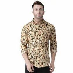 Hangup Collar Neck Men Cotton Printed Casual Shirt, Size: 38-44