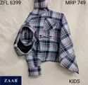 Full Sleeves Cotton Zfl 6399 Kids Hooded Check Shirt