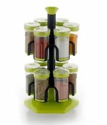 12 Jar Multipurpose Revolving Plastic Spice Rack, 12 Piece Condiment Set 100ml
