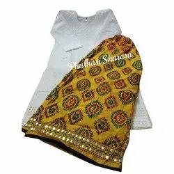Cotton Stitched Classic Phulkari Sharara Suit, Handwash