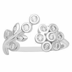 Edwardian Style 925 Sterling Silver White Zircon Gemstone Art Noveu Women Ring