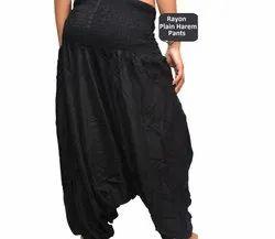 Black Rayon Plain Harem Pants, Waist Size: Large