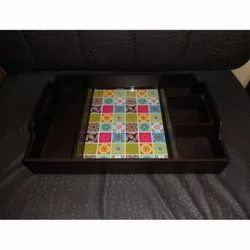 MDF Wooden Tray With Cutlery Slots
