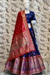 Blue Color Printed Lehenga Choli With Dupatta