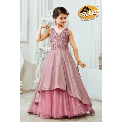 Kids Pink Party Wear Layer Gown