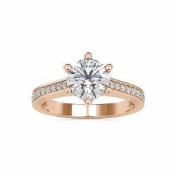 White Yellow Rose Gold Round Cut Full White Moissanite Halo Ring With Accent For Engagement