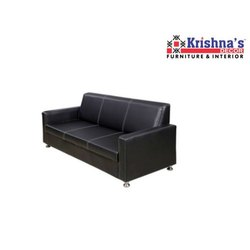 Krishnas Decor Black Leather Three Seater Sofa