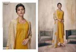 Ganga Cotton With Embroidery Work With Lawn Printed Dupatta Unstitched Suits