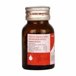 Folic Acid Iron With Copper & Manganese Capsules, 206.5 Mg