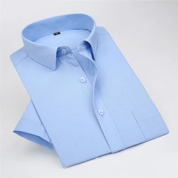 Collar Neck Plain Men Office Formal Shirts