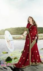 Designer Red Color Vichitra Silk Saree