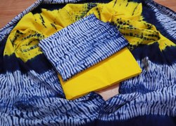 Blue And Yellow Cotton Women Suit