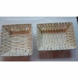 Handmade Plastic Straw Fruit Basket, For Home