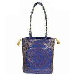 Blue Printed Silk Bag
