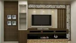 Brown Wall Mounted Modular Wooden TV Cabinet