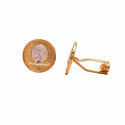 Mayo College Gold and Silver Plated Mayoor Cufflinks(Flat Base)