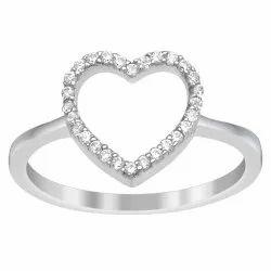 Heart Design 925 Sterling Silver 0.28 Ctw White Zirconia Valentine's Day Ring