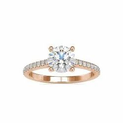 White Yellow Rose Gold Round Cut Full White Moissanite Ring For Engagement Wedding