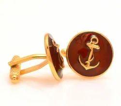 92.5 Silver Anchor Cufflinks In Maroon Enamel