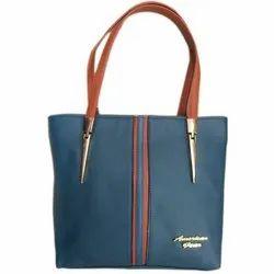 Ladies Yellow Plain Leather Handbag