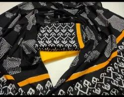Black And  Yellow Printed Cotton Unstitched Women Suits