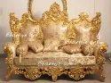 Bhartiye Art Wooden Carving Golden Sofa Set Indian Design In A Teak Wood 5 Seater