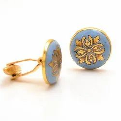 Cufflinks With Hand Painted Motif On Light Blue Enamel In Sterling Silver
