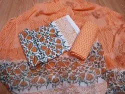 Orange And White Printed Cotton Unstitched Women Suits