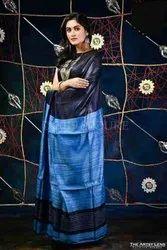 Blue Tussar Ghicha Plain Fancy Silk Saree, With blouse piece, 5.5 m (separate blouse piece)