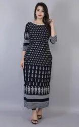 Round Neck Nevy Blue Rayon Casual Wear Kurta, Size: M-XXL