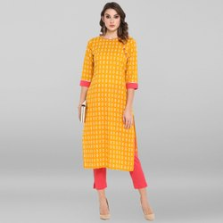 Janasya Women's Yellow Pure Cotton Kurta With Pant(SET156)