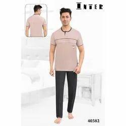 Men Cotton Round Neck Nightwear