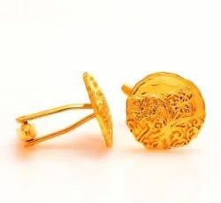 Antique Look 92.5 Sterling Silver Cufflinks With Golden Plating