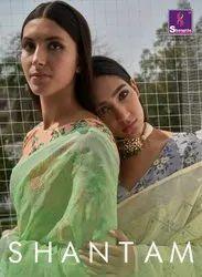 Shangrila Shantam Pure Weaving Linen Saree With Kalamkari Tread Work Saree Catalog