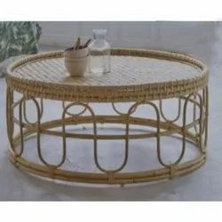 Brown Round Cane Table, 24 Inch (diameter)