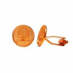 Mayo College Gold Plated Mayoor Cufflinks(Flat Base)