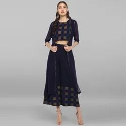 Janasya Women's Navy Blue Poly Crepe Top With Palazzo And Jacket(SET098)
