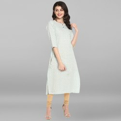 Janasya Women's Cream Pure Cotton Kurta(JNE3531)