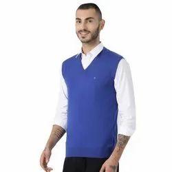 Woolen Blue Mens Sleeveless Sweater, Size: Free Size