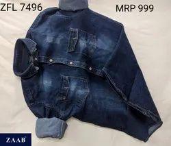 Plain Full Sleeves ZFL 7496 Men Denim Shirt