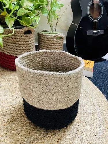Natural Handcrafted Jute Floral Pot, Storage Basket (black)